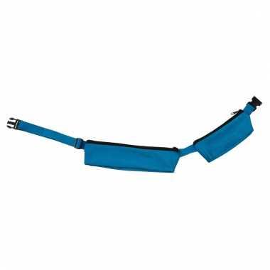Blauw sport heuptasje 2 vakken 80-107 cm voor volwassenen