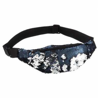 Blauw/zilver heuptasje voor kostuum accessoires met pailletten2 liter