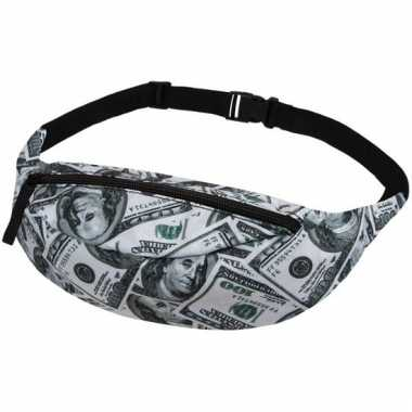 Verstelbare heuptassen zwart met geld print